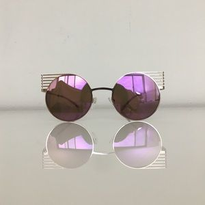 Accessories - Vintage Winged Boho Mirror Round Sunglasses